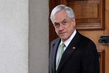Presidente Sebastian Piñera tras reunion con ministro del Interior.
