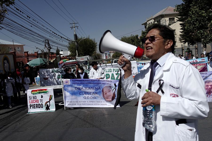 A doctor speaks during a protest after deaths of two doctors, who contracted arenavirus, which causes hemorrhagic fever, in La Paz