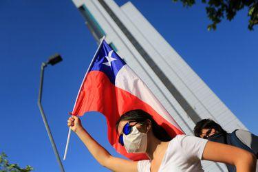 Manifestación pacífica en Plaza Italia