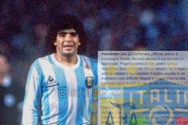 Ciro Ferrara subasta camiseta que le dio Maradona para ir en ayuda de Italia