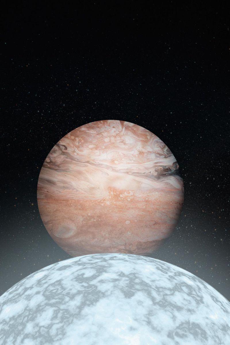 Representación artística de Júpiter y su anfitrión enano blanco. Si los humanos sobreviven para ver morir al Sol, teóricamente podrían trasladarse a una luna joviana y permanecer seguros en órbita. Imagen: Observatorio WM Keck / Adam Makarenko