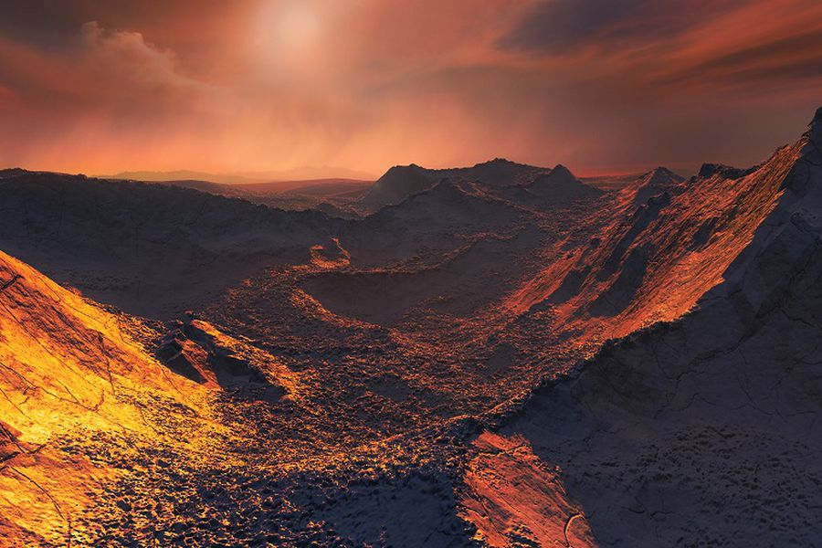 Artist's impression of the surface of a super-Earth orbiting B