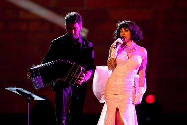 Mon Laferte performs during the 2019 Latin Recording Academy's Person of the Year Gala honoring Colombian musician Juanes at the MGM Grand hotel-casino in Las Vegas