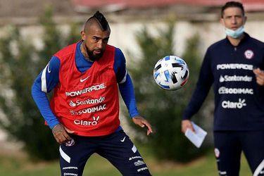 Arturo Vidal durante un entrenamiento de la Roja.