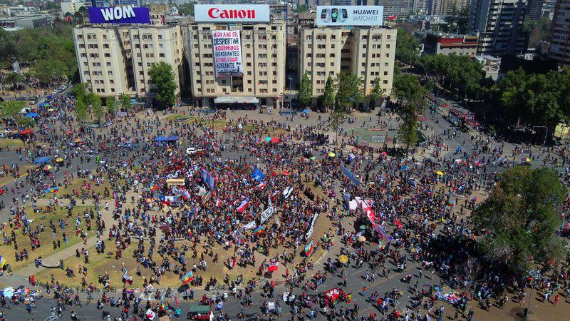 Imagen aérea de Plaza Italia, el epicentro de las manifesaciones.