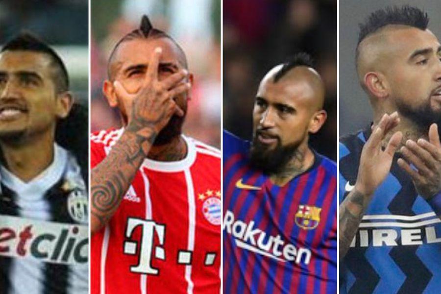 Los clubes en los que Arturo Vidal festejó títulos en Europa.