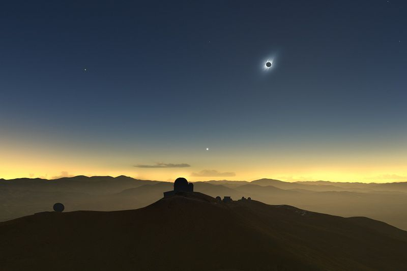 Clear-weather simulation of the 2019 eclipse viewed from La Sill