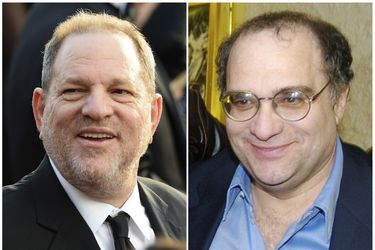 This combination photo shows Harvey Weinstein arrives at the Oscars i