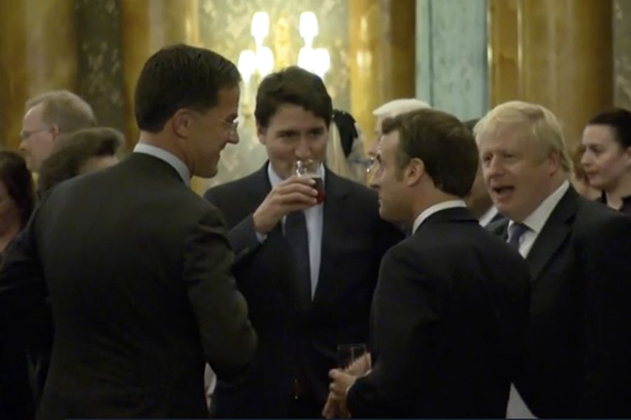 Britain NATO Summit Gossiping Leaders