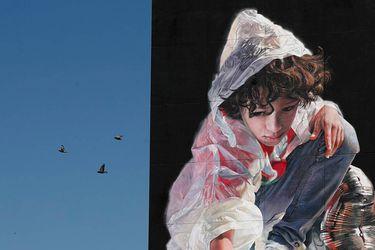 Artista argentino realiza murales gigantes inspirados en sequía del río Paraná