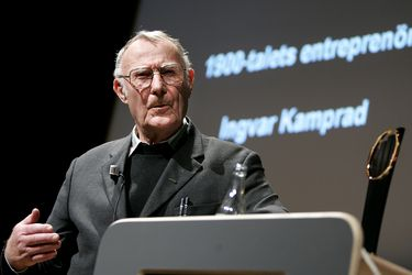 FILE PHOTO: Ingvar Kamprad, founder of Swedish multinational furniture retailer IKEA, is seen during an award ceremony in Stockholm