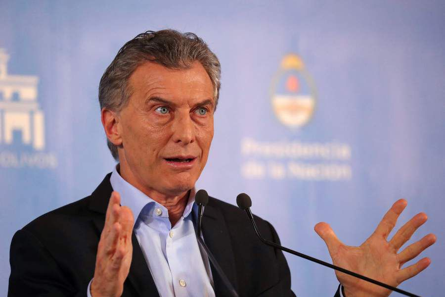 Argentina¿s President Macri speaks during a news conference at the Olivos Presidential Residence in Buenos Aires