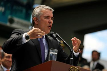 FILE PHOTO: Colombian President, Ivan Duque, speaks during a promotion ceremony at a military school in Bogota