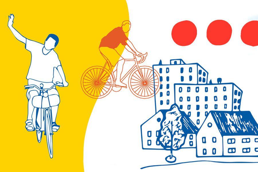 Ilustración ciclistas urbanos.