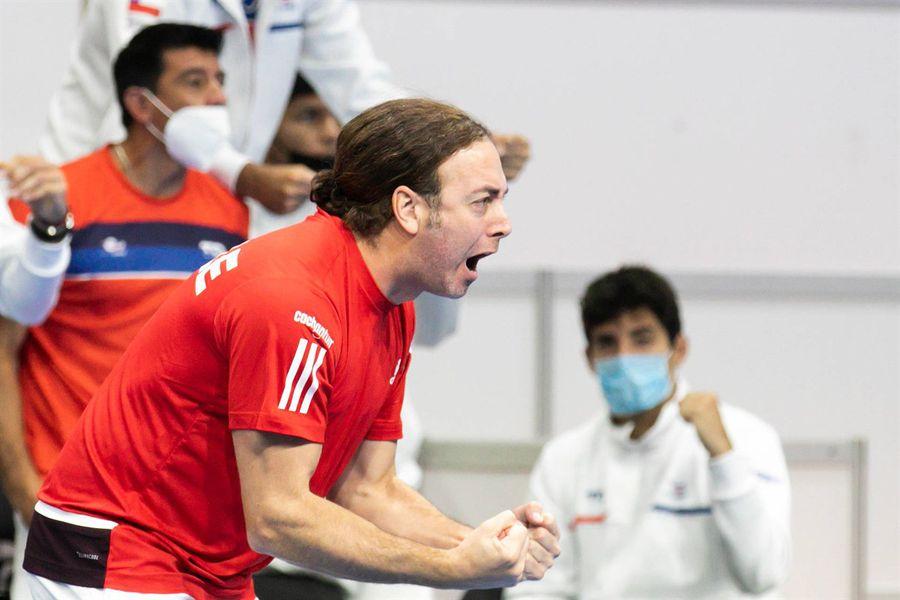 Massú, durante uno de los partidos de Chile en la Copa Davis.