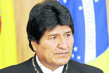 Bolivian President Evo Morales is pictured during the signing of agre