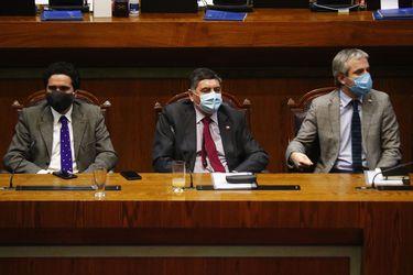 Los ministros Ignacio Briones, Claudio Alvarado y Gonzalo Blumel esta semana en el Congreso.