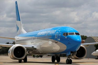 An Aerolineas Argentinas Boeing 737 MAX 8 is seen on the tarmac of Ezeiza Airport, on the outskirts of Buenos Aires