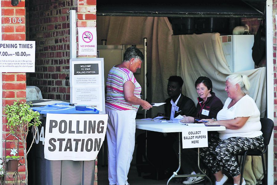 Voters are seen at a polling station for the European elections taking place despite Brexit (45666701)