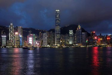 FILE PHOTO: A sunset view of Hong Kong island and Victoria Harbour in Hong Kong