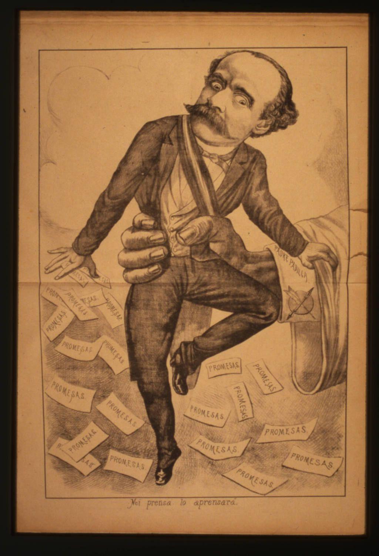Caricatura de Balmaceda en el periódico satírico El Padre Padilla.