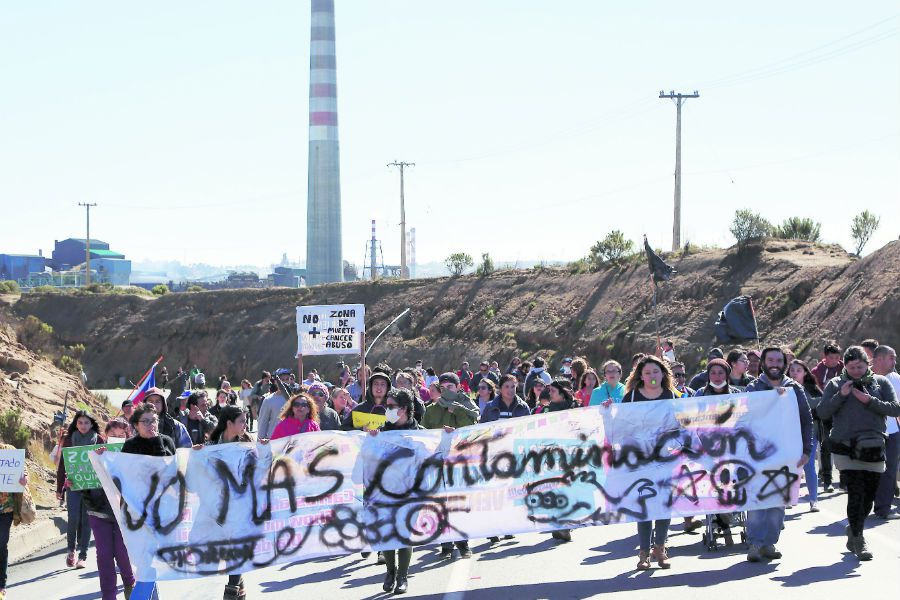 Las protestas en la zona de Quintero y Puchuncaví se repitieron en 2018. Foto: La Tercera