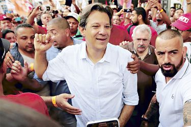 Presidential candidate Fernando Haddad of PT attends a rally campaign in Campinas