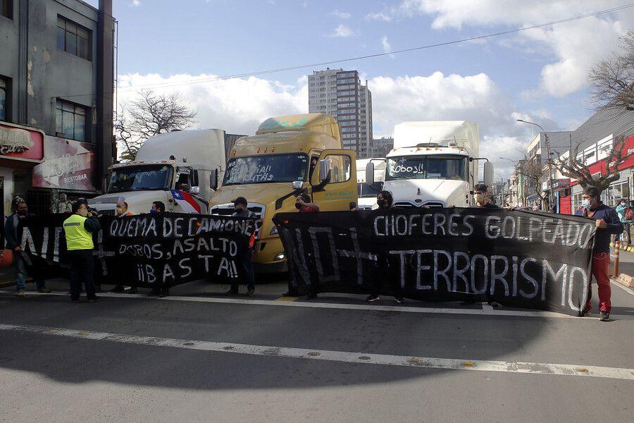 Referencial. Camioneros se manifestaron el pasado martes 11 de agosto en Concepción, reclamando seguridad en las rutas de la zona.