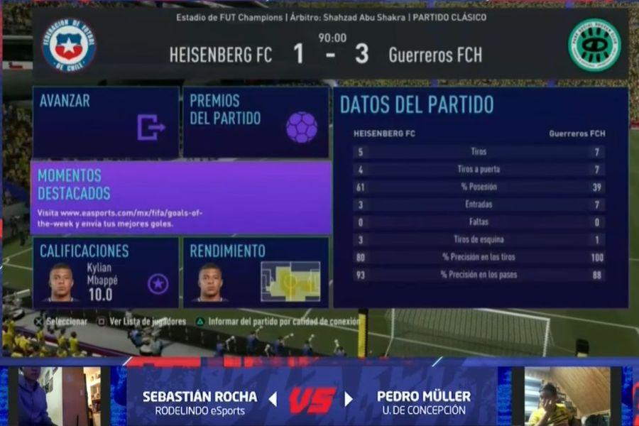 Captura de pantalla del partido entre Rodelindo Román y Universidad de Concepción, en la última fecha del torneo eSports.