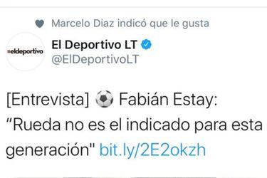 """¿Intencionado o despiste?: el llamativo """"me gusta"""" de Marcelo Díaz contra Rueda"""