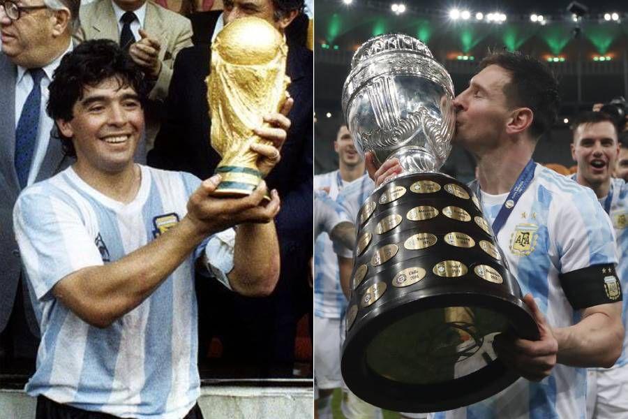 Maradona y Messi con las copas que le dieron a Argentina