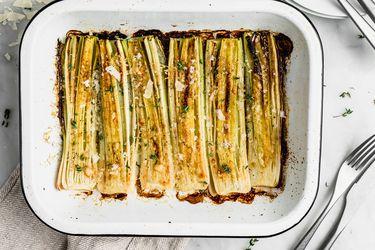 Cómo hacer puerros gratinados con parmesano