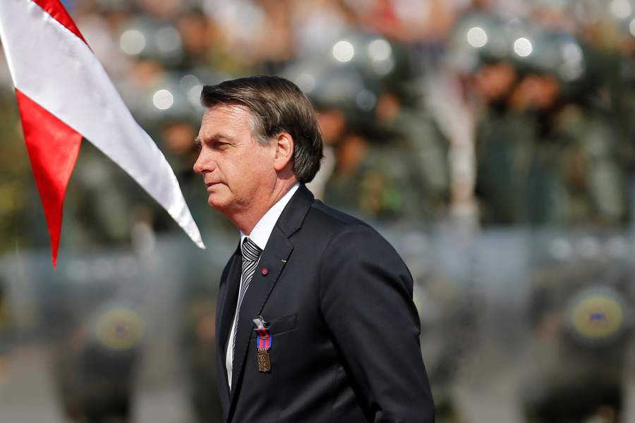 Brazil's President Jair Bolsonaro looks on during a Soldier's Day ceremony, in Brasilia