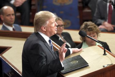 President Donald Trump addresses a joint session of Congress on Capit