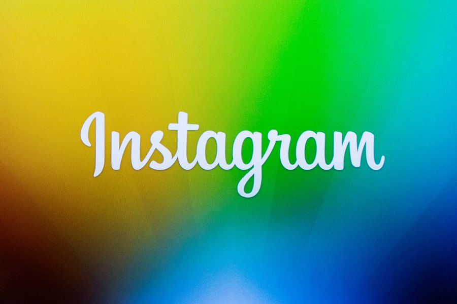 FILE PHOTO - A screen displays the Instagram logo during a presentation in New York