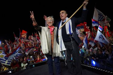 Uruguay's presidential candidate Daniel Martinez and his Vice President candidate Graciela Villar, both of Frente Amplio, attend their closing campaign rally ahead of Sunday's presidential election, in Montevideo