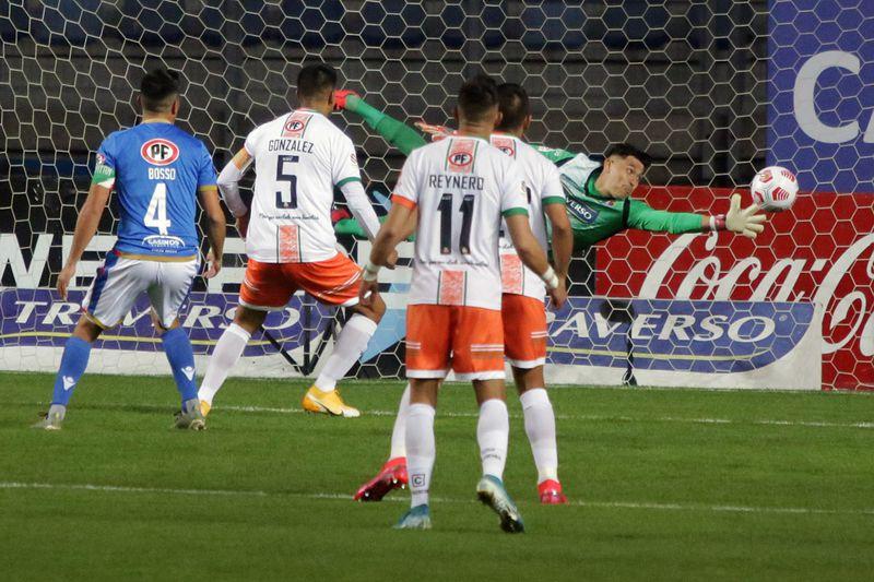 Rodolfo González anota el 0-1 que, posteriormente, fue anulado por el juez del duelo entre Audax Italiano y Cobresal. FOTO: Agencia Uno.
