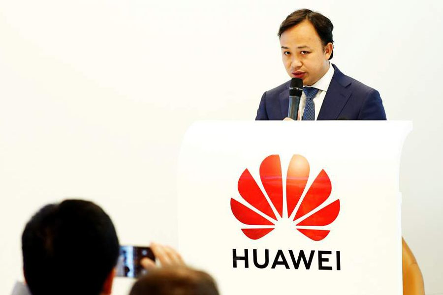 Abraham Liu, Huawei Chief Representative to the EU Institutions and Vice-President European Region speaks at a news conference at the Huawei European Cybersecurity Center in Brussels
