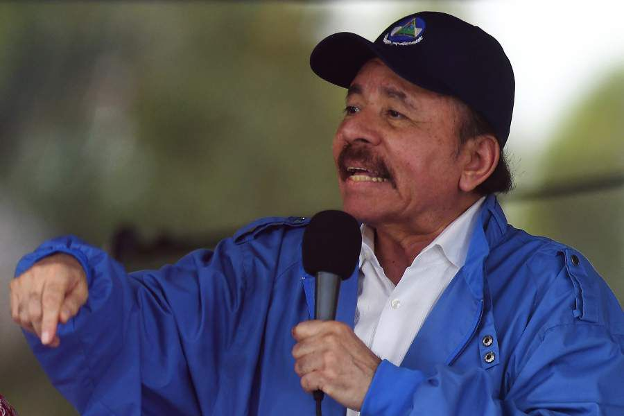 Nicaraguan President Daniel Ortega speaks to supporters during the go