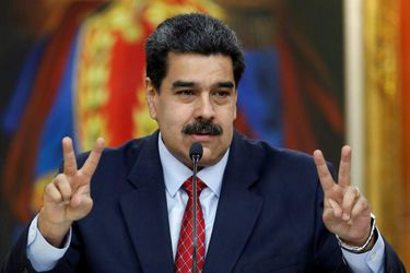Venezuela's President Nicolas Maduro sholds a news conference in Caracas