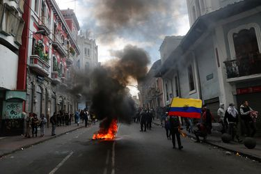 Protests against Ecuador's President Lenin Moreno's austerity measures, in Quito