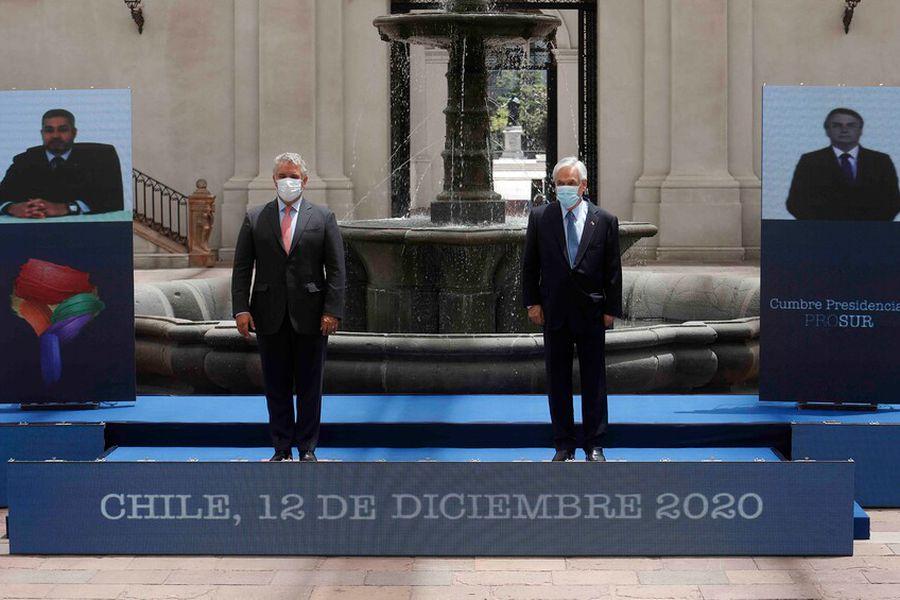 Presidente Sebastián Piñera, junto al Mandatario colombiano, Iván Duque, en Cumbre Prosur que se lleva a cabo en el Palacio de La Moneda.