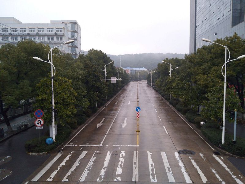 An empty street is seen in Wuhan