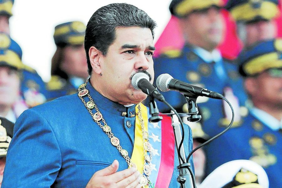 Venezuela's President Nicolas Maduro speaks during a military parade in Maracay