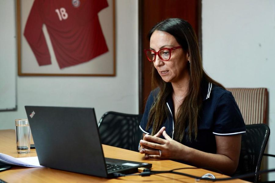 La ministra Cecilia Pérez atendiendo a La Tercera a través de un video llamado.