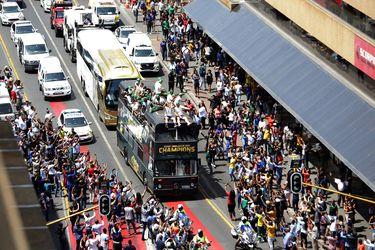 Los Springboks presentan el trofeo del Mundial de Rugby en Sudáfrica