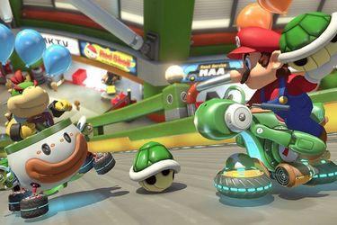 Una partida de Mario Kart se jugó en la pantalla gigante de un estadio