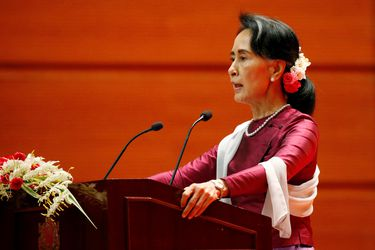 Myanmar State Counselor Aung San Suu Kyi delivers a speech to the nation over Rakhine and Rohingya situation, in Naypyitaw
