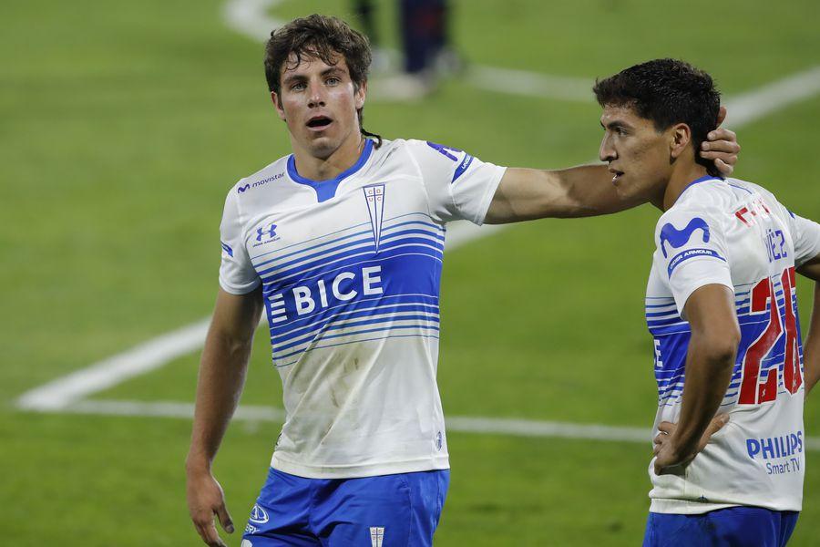 Clemente Montes celebra junto a Marcelino Núñez el triunfo ante Nacional, por Copa Libertadores. Foto: AgenciaUno.
