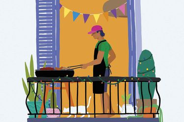 Parrillar en el balcón
